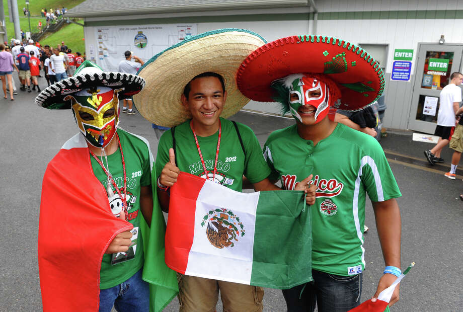 Mexico fans pose for a photo at the Little Leauge World Series in South Williamsport, Penn. on Friday August 17, 2012. Photo: Christian Abraham / Connecticut Post