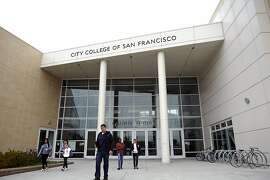 Students are seen on campus between classes at City College of San Francisco on Friday August 17th, 2012