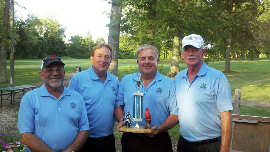 Winners at the fifth annual St. Mary/Greenwich High School Reunion Golf Outing on Aug. 13, from left,  St. Mary alumni Peter Mandras, Charlie Carino, Captain Dave Carino and Rich Ferguson. Photo: Contributed Photo