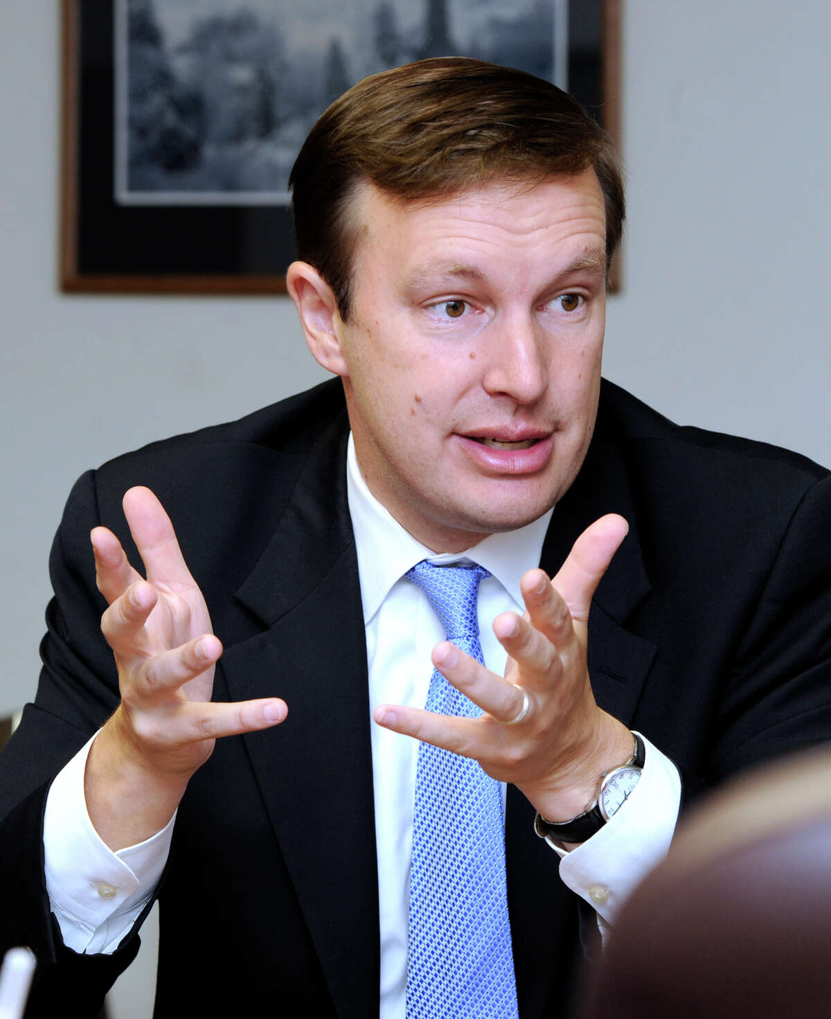 U.S. Rep. Chris Murphy, D-5th, meets with The News-Times editorial board Tuesday, July 3, 2012.