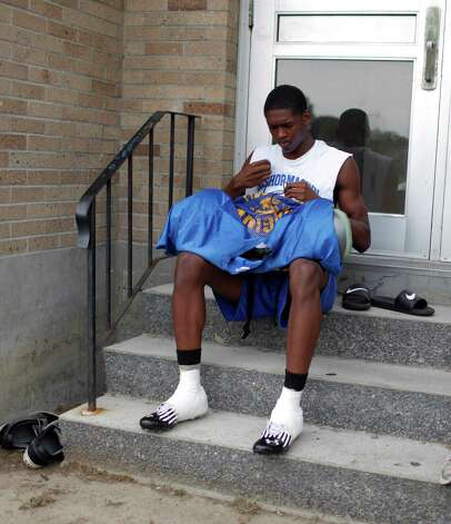 Bishop Maginn football player Derek Thomas prepares for practice at the school, Friday Aug. 17, 2012 in Albany, N.Y. (Dan Little/Special to the Times Union) Photo: Dan Little / Dan Little
