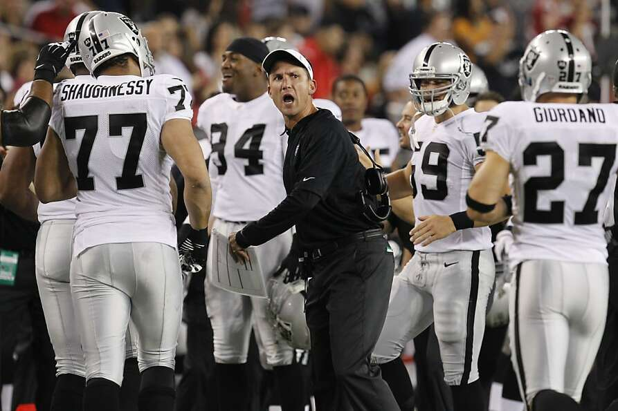 Oakland Raiders head coach Dennis Allen makes a call against the Arizona Cardinals during the first