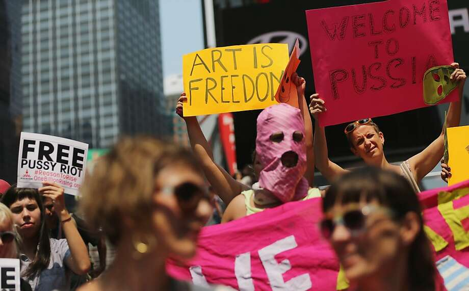 Supporters of Russian punk-rock group Pussy Riot rally in Times Square on August 17, 2012 in New York City. A Russian judge sentenced the three members of the band to two years in prison after they performed an anti-Putin song in a Moscow cathedral. Photo: Mario Tama, Getty Images