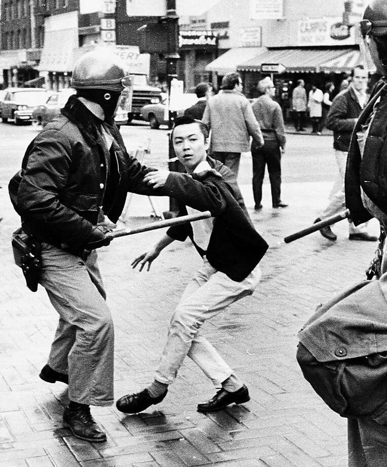 Richard Masato Aoki, an early member of the Black Panthers, takes part in a protest near the UC Berkeley campus in 1969. Photo: Lonnie Wilson, Oakland Tribune