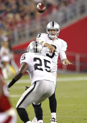 Oakland Raiders quarterback Carson Palmer (3) throws to  Mike Goodson (25) during the first half of a preseason NFL football game against the Arizona Cardinals, Friday, Aug. 17, 2012, in Glendale, Ariz. (AP Photo/Matt York) Photo: Matt York, Associated Press