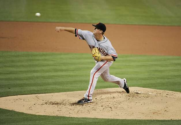 SAN DIEGO, CA - AUGUST 17: Matt Cain #18 of the San Francisco Giants pitches during the second inning of a baseball game against the San Diego Padres at Petco Park on August 17, 2012 in San Diego, California. (Photo by Denis Poroy/Getty Images) Photo: Denis Poroy, Getty Images