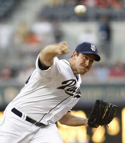 San Diego Padres starting pitcher Ross Ohlendorf works against the San Francisco Giants during the first inning of a baseball game Friday, Aug. 17, 2012 in San Diego. (AP Photo/Lenny Ignelzi) Photo: Lenny Ignelzi, Associated Press