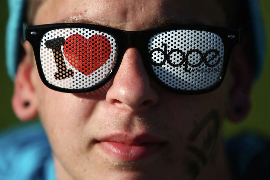 Markus Paige of Aberdeen sports glasses during Seattle's Hempfest pro marijuana gathering at Myrtle Edwards Park on the Seattle waterfront on Friday, August 17, 2012. Hundreds of thousands of people are expected to attend the festival that lasts through the weekend. Photo: JOSHUA TRUJILLO / SEATTLEPI.COM