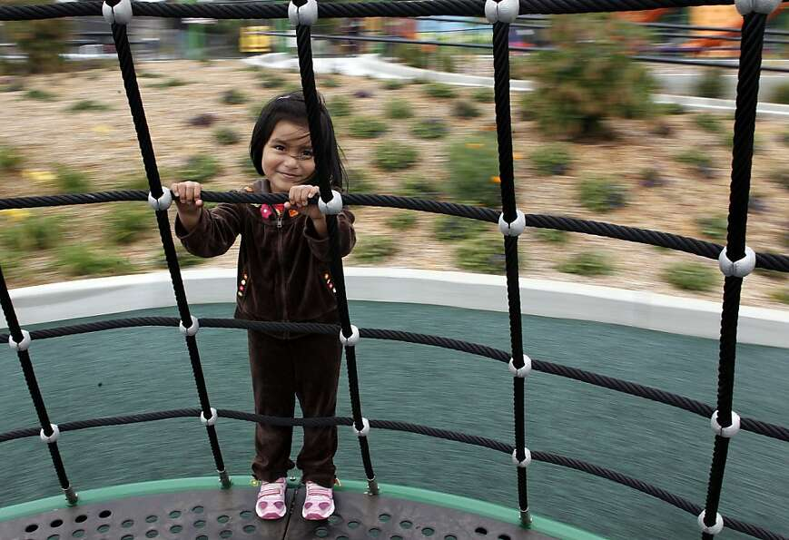 Caroline Delacruz takes a spin at the newly redone Balboa Park, which has new playgrounds.