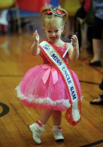 Tiny Miss Uncle Sam winner Adrianna McDonald during the annual Uncle Sam Pagaent in Troy, N.Y., Saturday Aug. 18, 2012. (Michael P. Farrell/Times Union) Photo: Michael P. Farrell