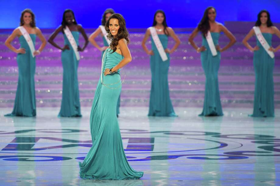 Miss Spain Aranzazu Godoy parades during the Miss World 2012 final ceremony. Photo: ED JONES, AFP/Getty Images / 2012 AFP