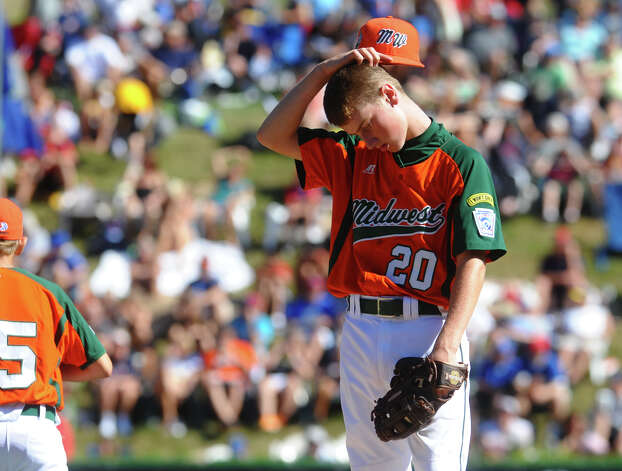 Midwest's pitcher Thad Huber feels the pressure, during 2012 Little League World Series game action against New England in South Williamsport, Penn. on Saturday August 18, 2012. Photo: Christian Abraham / Connecticut Post