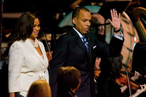 City Controller Ronald Green and his wife, Justice of the Peace Hilary Green, arrive for the public swearing-in of Mayor Annise Parker in January 2010.
