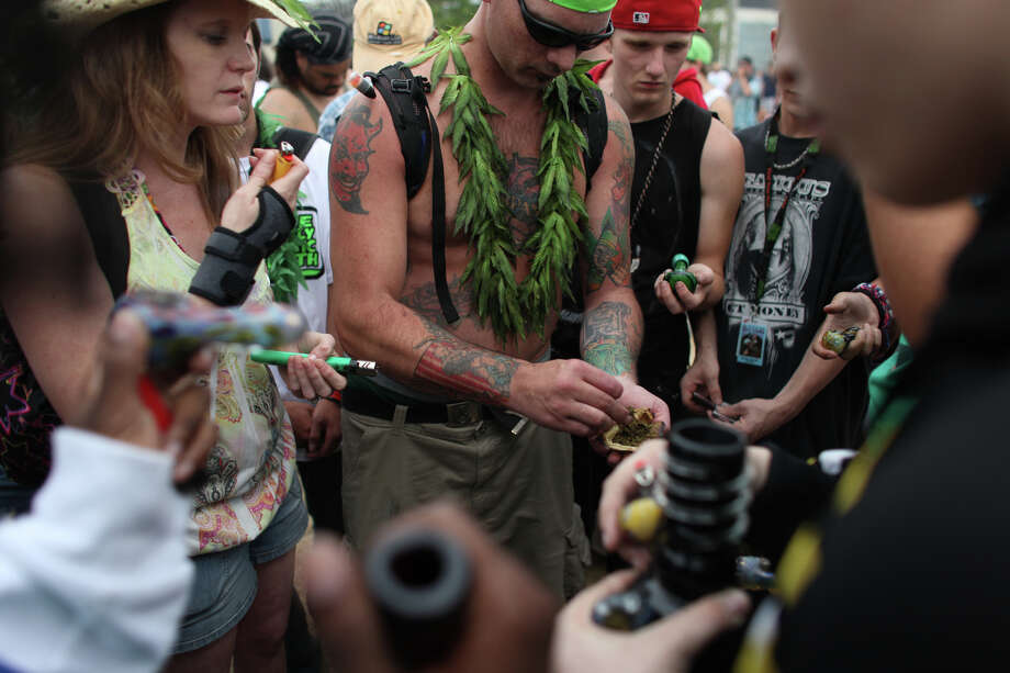 Marijuana is passed out to smokers. Photo: JOSHUA TRUJILLO / SEATTLEPI.COM