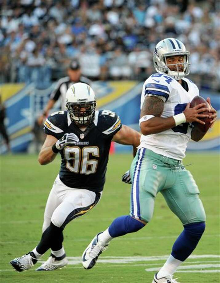 Dallas Cowboys tight end James Hanna pulls in a ,pass as San Diego Chargers linebacker Jarret Johnson moves in during the first half of a NFL preseason football game Saturday, Aug. 18, 2012 in San Diego. (AP Photo/Denis Poroy) Photo: Associated Press
