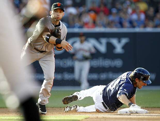 San Francisco Giants second baseman Marco Scutaro, left, throws to first after forcing out San Diego Padres' Chris Denorfia at second during the first inning of a baseball game in San Diego, Saturday, Aug. 18, 2012. Logan Forsythe was safe at first. (AP Photo/Alex Gallardo) Photo: Alex Gallardo, Associated Press