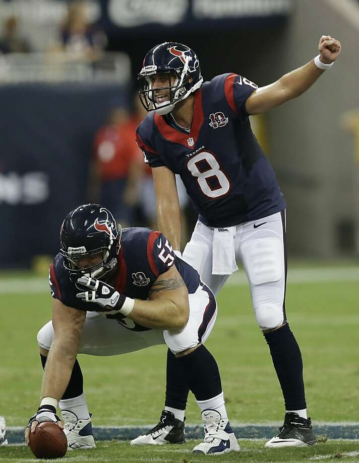 Houston Texans' Matt Schaub (8) and  Chris Myers (55) in the second quarter an NFL preseason football game against the San Francisco 49ers Saturday, Aug. 18, 2012, in Houston. (AP Photo/David J. Phillip) Photo: David J. Phillip, Associated Press