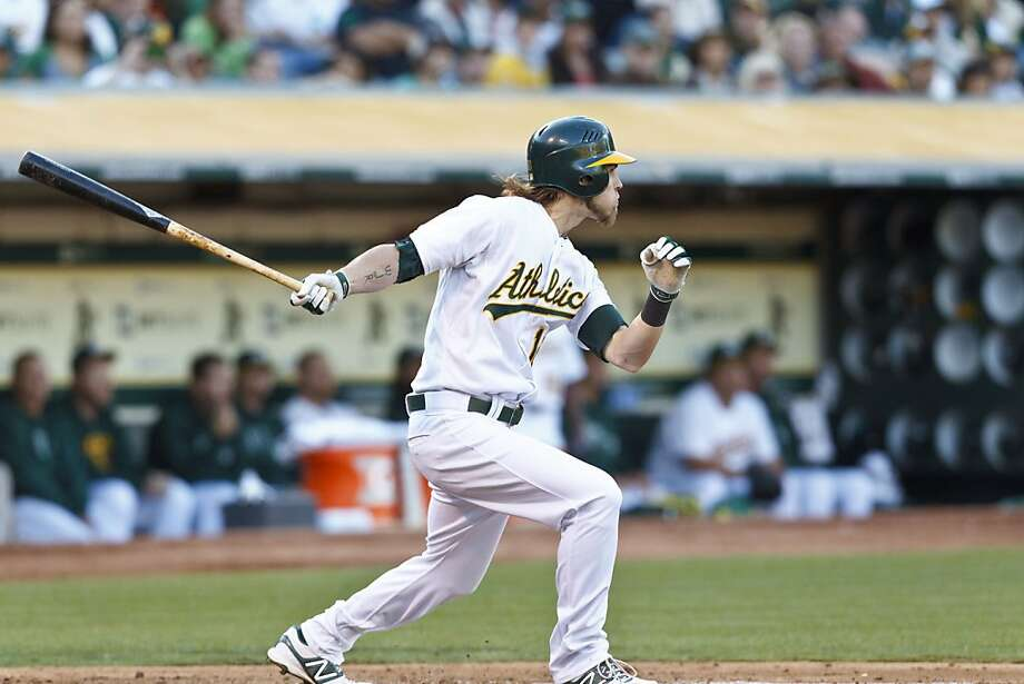 OAKLAND, CA - AUGUST 18: Josh Reddick #16 of the Oakland Athletics hits an RBI double against the Cleveland Indians during the third inning at O.co Coliseum on August 18, 2012 in Oakland, California. (Photo by Jason O. Watson/Getty Images) Photo: Jason O. Watson, Getty Images