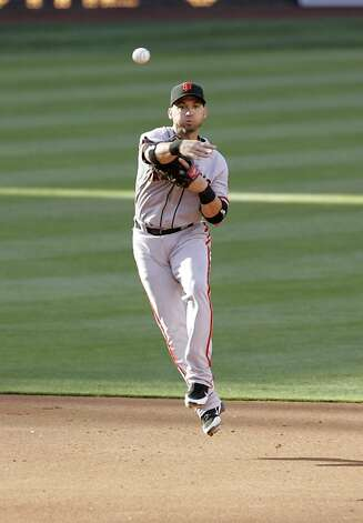 Marco Scutaro #19 of the San Francisco Giants throws the ball to first base to force out the runner in the 5th inning of the game against the San Diego Padres at Petco Park on August 18, 2012 in San Diego, California. (Photo by Kent C. Horner/Getty Images) Photo: Kent Horner, Getty Images