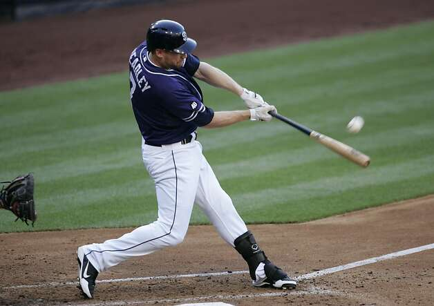 SAN DIEGO, CA - AUGUST 18 - Chase Headley # 7 of the San Diego Padres hits a homerun in the 2nd inning of the game against the San Francisco Giants at Petco Park on August 18, 2012 in San Diego, California. (Photo by Kent C. Horner/Getty Images) Photo: Kent Horner, Getty Images