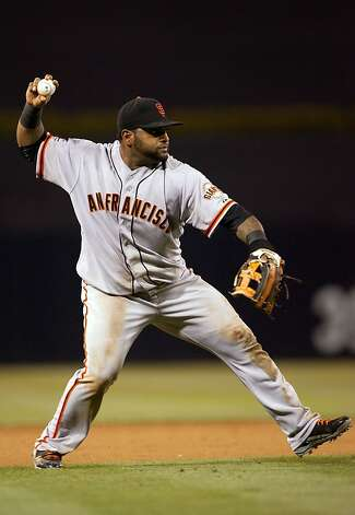 SAN DIEGO, CA - AUGUST 18 - Pablo Sandoval #48 of the San Francisco Giants throws the ball in the 9th inning of the game against the San Diego Padres at Petco Park on August 18, 2012 in San Diego, California. (Photo by Kent C. Horner/Getty Images) Photo: Kent Horner, Getty Images
