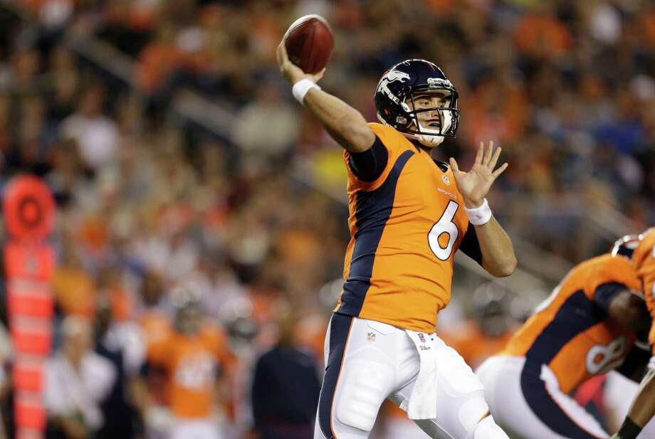 Denver Broncos quarterback  Brock Osweiler throws against the Seattle Seahawks in the second half. Photo: AP