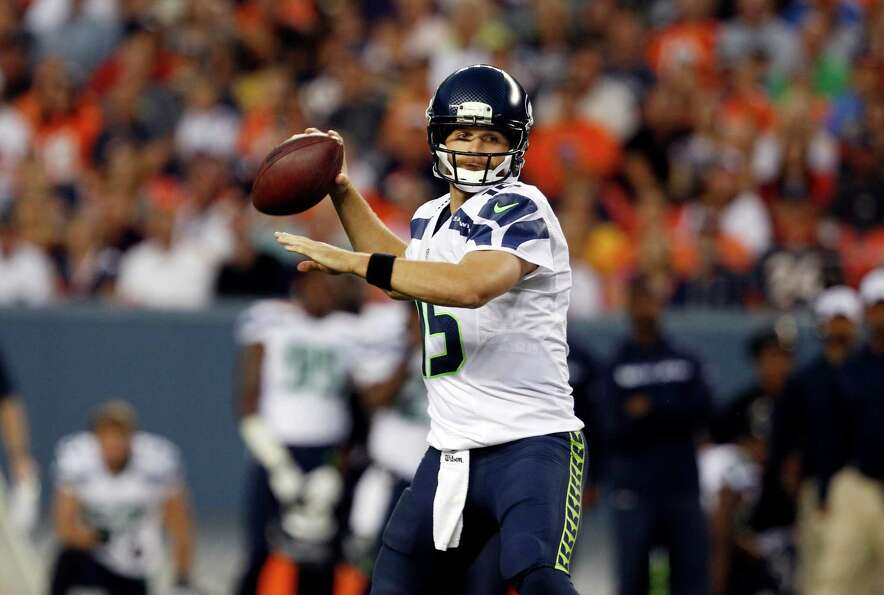 Seattle Seahawks quarterback Matt Flynn looks to throw in the first half.