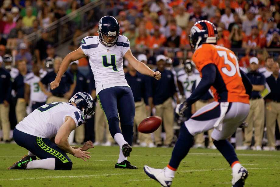 Place kicker Steven Hauschka #4 of the Seattle Seahawks kicks a 36-yard field goal during the second quarter against the Denver Broncos. Photo: Justin Edmonds, Getty Images / 2012 Getty Images