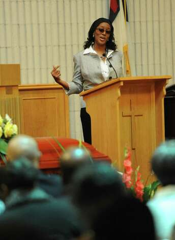 Christina Steward speaks during services for her grandftaher, John Harris Sr., at The Grace Baptist Church in Norwalk on Saturday, August 18, 2012. Photo: Lindsay Niegelberg / Stamford Advocate
