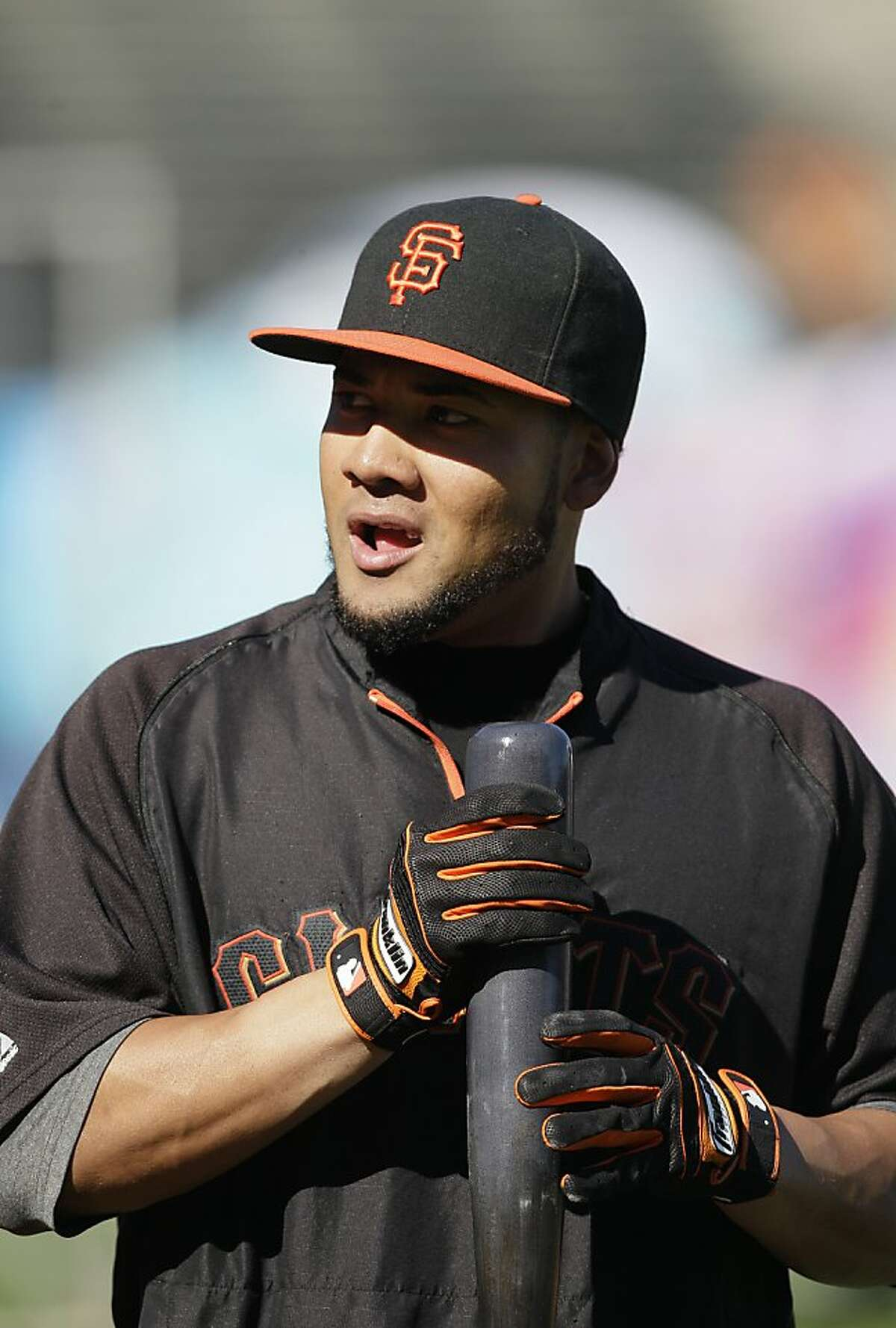 San Francisco Giants center fielder Melky Cabrera (53) before a baseball game against the Los Angeles Dodgers in San Francisco, Friday, July 27, 2012. (AP Photo/Jeff Chiu)
