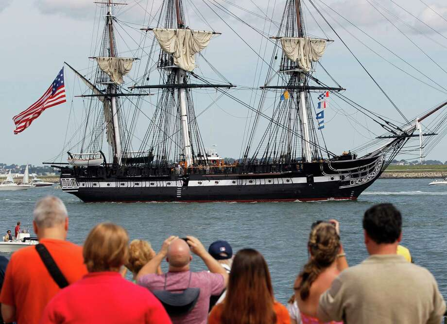The USS Constitution sails in Boston Harbor on Sunday to commemorate the 200th anniversary of the ship's victory over HMS Guerriere in the War of 1812. Photo: Steven Senne / AP