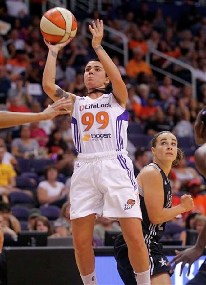 Phoenix Mercury guard Samantha Prahalis (99) shoot against the San Antonio Silver Stars during the second half of a WNAB basketball game on Sunday, Aug. 19, 2012, in Phoenix. (AP Photo/Matt York Photo: Associated Press