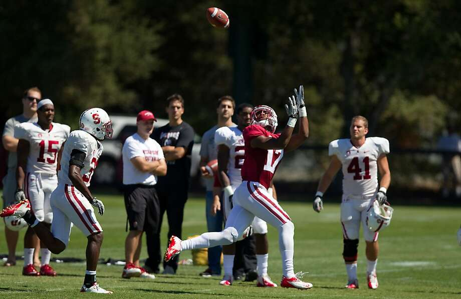 Kodi Whitfield, son of former Pro Bowl offensive tackle Bob Whitfield, goes out for a pass during Stanford's scrimmage. Running back Barry J. Sanders also put on a good showing. Photo: Casey Valentine, Stanford Athletics