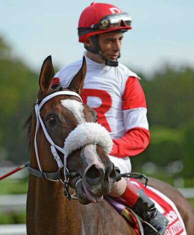 Stephanie's Kitten with jockey John Velazquez overcame traffic problems to win the 29th running of the Woodford Reserve Lake Placid Stakes at the Saratoga Race Course in Saratoga Springs, N.Y. Aug 19, 2012.   (Skip Dickstein/Times Union) Photo: Skip Dickstein