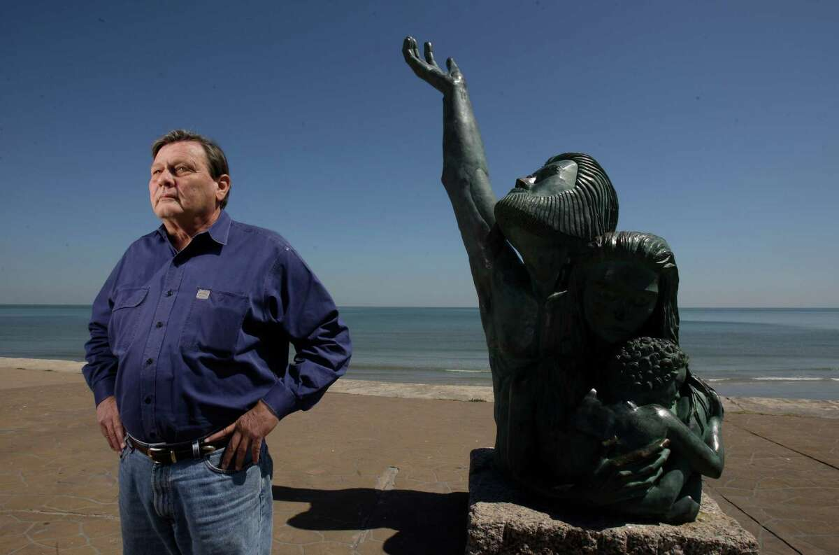Bill Merrell, TAMU-Galveston oceanographer, proposes to build an Ike Dike from one end of Galveston Island across Bolivar Peninsula Tuesday, April 7, 2009, in Houston. Shown at the statue along the Seawall commemorates the storm that devastated the island city of Galveston in 1900. (Melissa Phillip / Chronicle ) for Eric Berger story