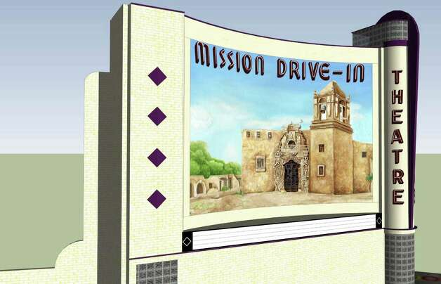 The latest design for a restored mural at the old Mission Drive-In Theatre is a full-color rendering of the church at Mission San JosŽ, without any human figures. The city and its consultants removed two men in sombreros from its restoration of the 1940s mural, and added a mission wall and greenery. COURTESY/CITY OF SAN ANTONIO