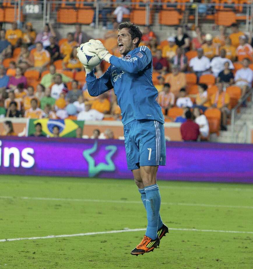 HOUSTON, TX - AUGUST 19:  Tally Hall #1 of the Houston Dynamo makes save against the Columbus Crew in the second half at BBVA Compass Stadium on August 19, 2012 in Houston, Texas. Photo: Bob Levey, Getty Images / 2012 Getty Images
