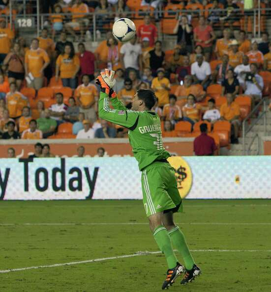 HOUSTON, TX - AUGUST 19:  Goalkeeper Andy Gruenebaum #30 of the Columbus Crew has a shot by Adam Mof