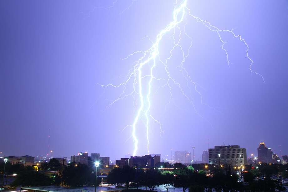 Lightning strikes downtown Saturday night in San Antonio. Photo: Courtesy
