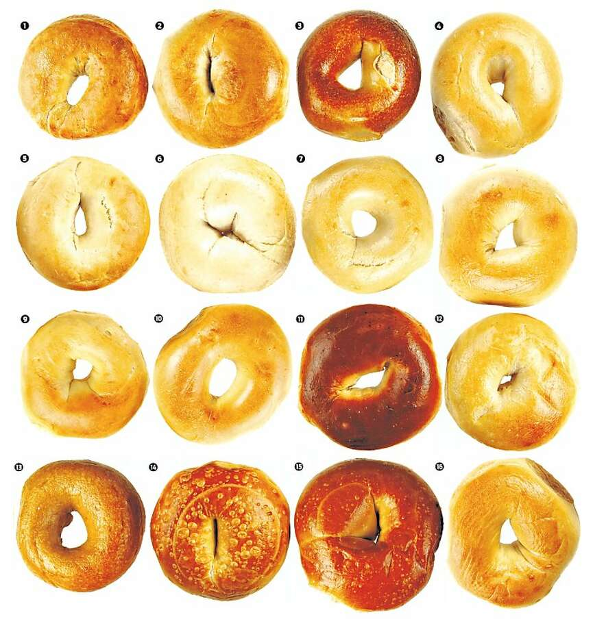 Bay Area bagels, in no particular order: 1. Authentic Bagel Co.; 2. Bagelry; 3. Baron Baking; 4. Bay Area Bagel; 5. Katz Bagel; 6. Boogie Woogie Bagel Boy; 7. Holey Bagel; 8. Berkeley Bagel; 9. House of Bagels, SF; 10. House of Bagels, San Carlos; 11. Izzy's Brooklyn Bagels; 12. Manhattan Bagel; 13. Schmendricks; 14. Noe Bagel; 15. Posh Bagel; 16. Noah's Bagels. Photo: Craig Lee, Special To The Chronicle