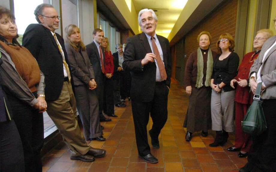 Miles Gerrity, public defender for the district of Danbury, speaks at the dedication of a waiting room for the late Joe Romanello at the public deffenders office at the Superior Court House in Danbury Friday, Dec. 4, 2009. Photo: Chris Ware / The News-Times