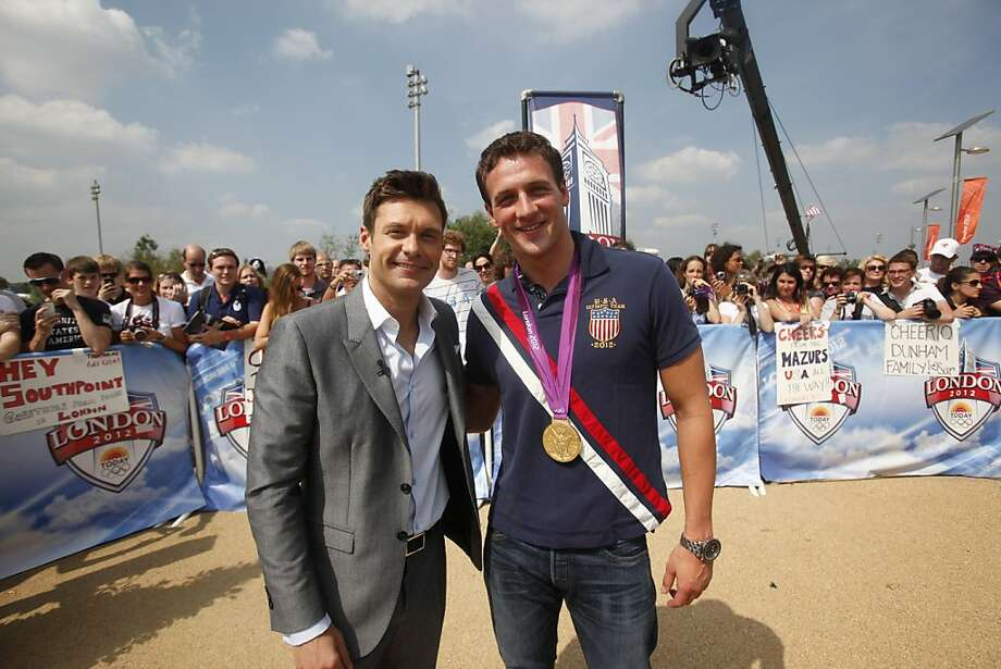 Ryan Seacrest (left, with Ryan Lochte), is perfect to moderate presidential debates: He's hipper and hotter than anyone on CNN or PBS. Photo: Warrick Page, NBC
