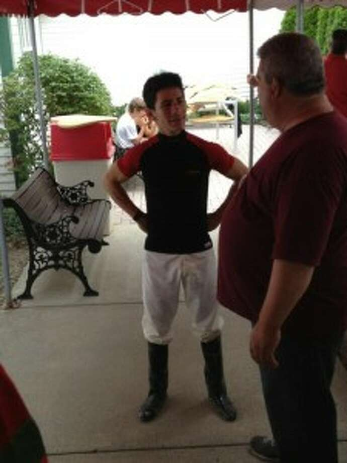 Junior Alvarado looked fine two hours after leaving the track on a stretcher. (Mark Singelais/Times Union)