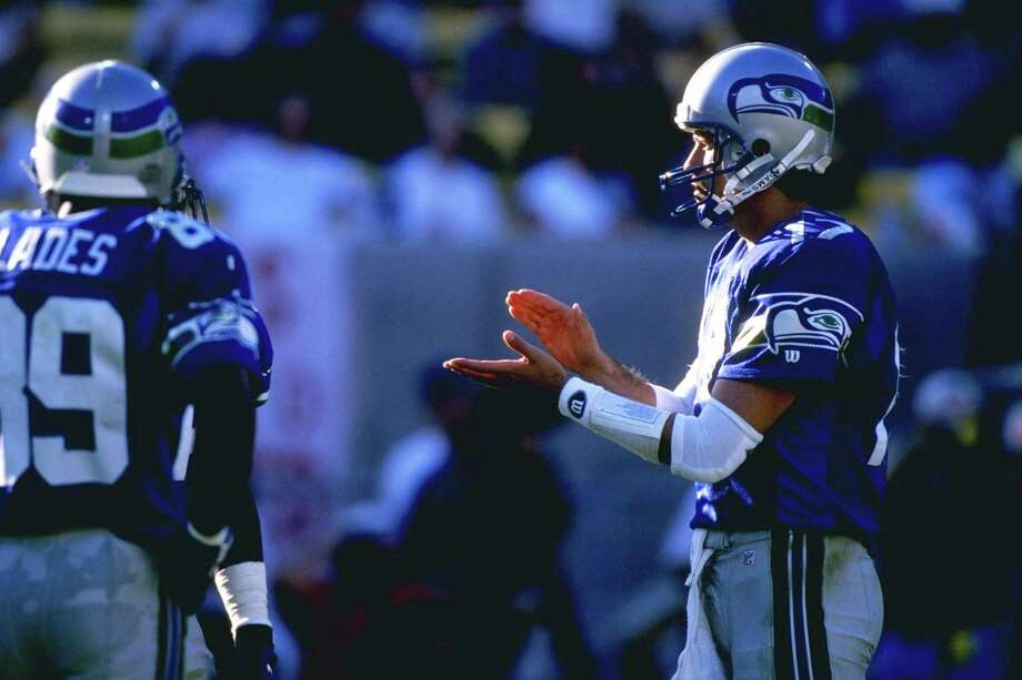 John Friesz, 1995-1998: Backing up Warren Moon and Jon Kitna, Friesz was part of the deepest roster the Seahawks have ever seen at the position.  He'd previously started for San Diego, and holds a career quarterback rating of 72.3. Photo: Jed Jacobsohn, Getty Images / Getty Images North America