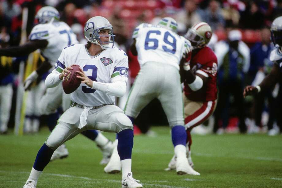 Rick Mirer, 1993-1996: Another draft disappointment for the Seahawks, Mirer went second overall in the 1993 draft. Mirer started all 16 games his rookie year, and appeared to be gaining ground the following season. But he failed to achieve and was traded away after four seasons with the Hawks. His career quarterback rating was 63.5. Photo: George Rose, Getty Images / 1994 Getty Images