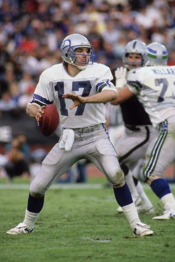 Dave Krieg, 1980-1991: Krieg led the Seahawks for more than a decade. The three-time Pro Bowl player came to the Hawks undrafted and is one of two quarter backs placed in the Ring of Honor. His career QB rating is 81.5. Photo: George Rose, Getty Images / 1985 Getty Images