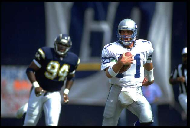 Kelly Stouffer, 1988-1992: A young backup quarterback, Stouffer saw significant playing time during his first season what amounted to his rookie season.  He ended his career after five seasons with the Seahawks with a quarterback rating of 54.5. Photo by CHRIS COVATTA/ALLSPORT Photo: Chris Covatta, Getty Images / Getty Images North America