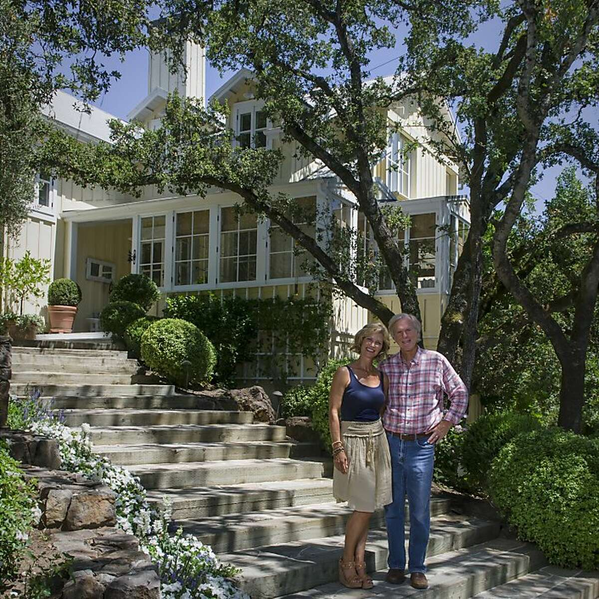 Lori and Howard Backen are seen in front of their Oakville, Calif., home on Saturday, July 21, 2012.