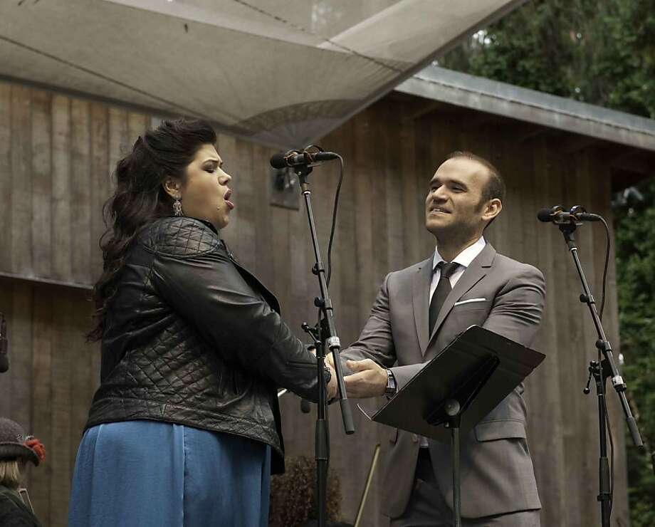 "Soprano Leah Crocetto (left) and tenor Michael Fabiano perform at Stern Grove. Crocetto gave a fantastic performance, ridding herself of the stiffness she displayed in last fall's ""Turandot."" Photo: Scott Wall"