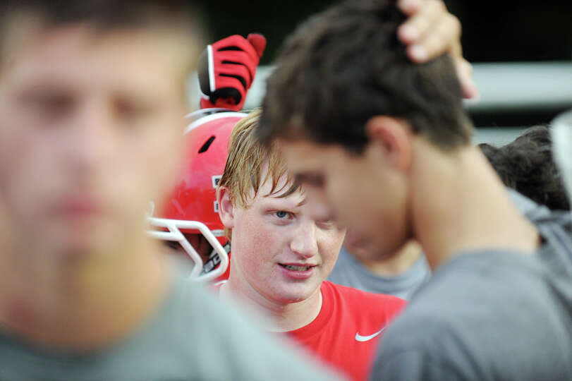 Andrew Read in action during the Rams football practice at New Canaan High School in New Canaan, Con